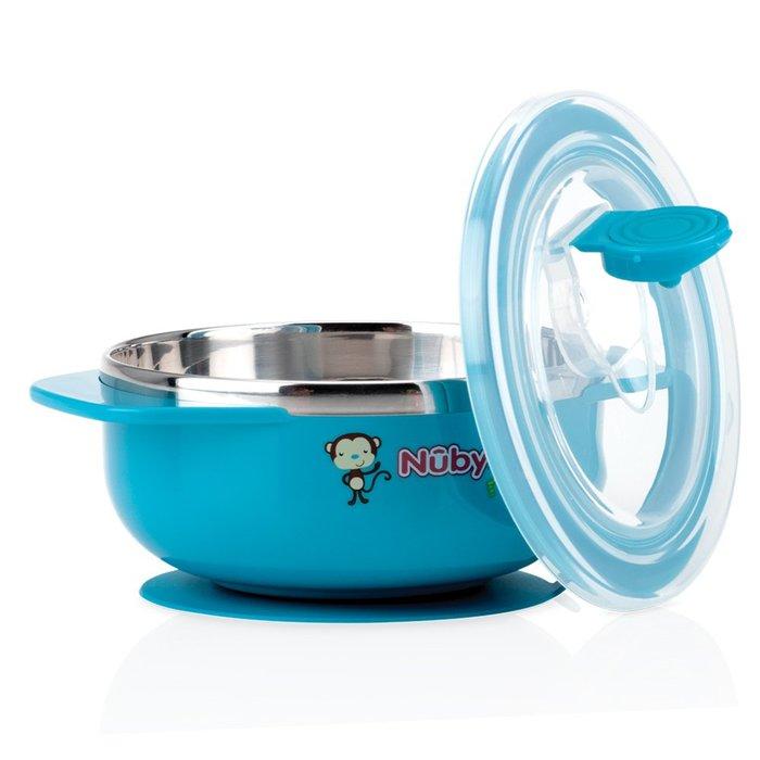 ☘ 板橋統一婦幼百貨 ☘  Nuby 不鏽鋼吸盤碗 猴子藍(6m+)