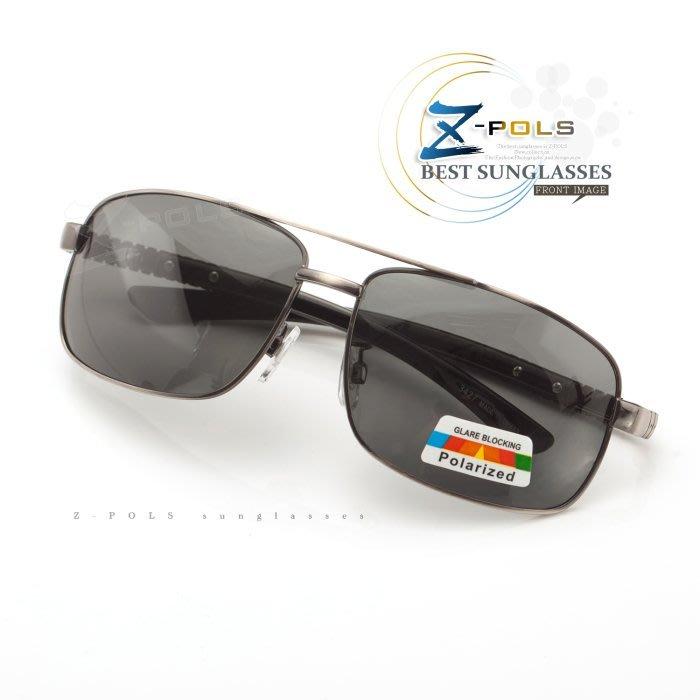 ※Z-POLS 金屬質感設計款※名牌風格圖騰帥氣邊框設計 寶麗來偏光 太陽眼鏡,全新上市!