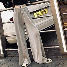 闊腿褲 休閒褲 長褲 網紅S-4XL中大尺碼寬鬆鬆緊腰直筒墜感拖地褲G412-D.7096胖胖美依