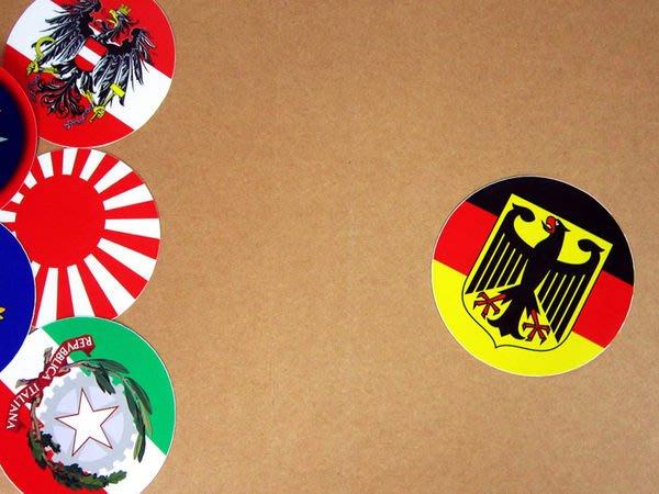 【衝浪小胖】德國徽旗圓形登機箱貼紙/抗UV防水/Germany/世界多國款可客製