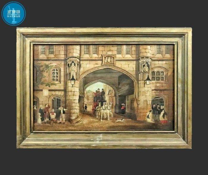 【波賽頓-歐洲古董拍賣】歐洲/西洋古董 英國古董 手繪油畫 城鎮和村莊的街景(尺寸:74×51公分)(年份:1920-1950年)
