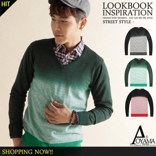 [青山~AOYAMA ]漸層條紋設計柔棉針織毛衣(3色)【D8824】