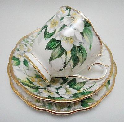 【timekeeper】 英國製Royal Albert皇家亞伯特Orange Blossom系列三件式咖啡杯+盤(免運