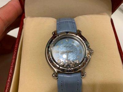 Chopard 蕭邦 Happy Sport 快樂魚 藍色石英鑽錶 錶徑:38MM