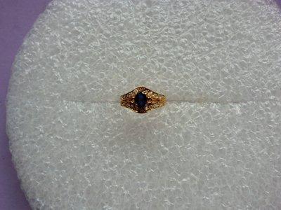 18K GP戒.鑲:藍寶石&鋯鑽