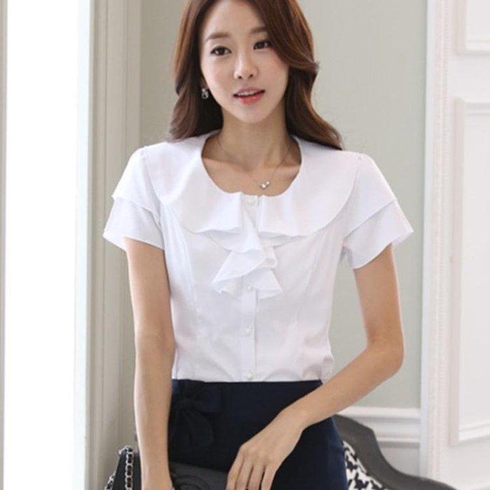 夏季新款雪紡白襯衫短袖女荷葉邊寬鬆上衣韓范顯瘦雪紡襯衣