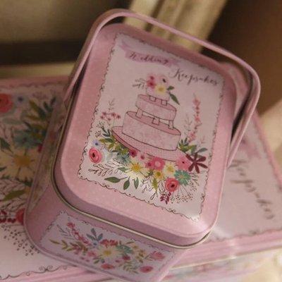 花花生日蛋糕長方形小鐵盒手提馬口鐵盒 曲奇餅乾 彌月禮 烘焙包裝 喜糖盒 糖果巧克力 手挽 文具小物雜物收納 ZAKKA