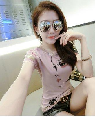 YOHO 特價出清 短袖上衣 (CX7060) 實拍俏齡女孩印花修身純棉上衣 棉T 短袖T恤 S-3XL