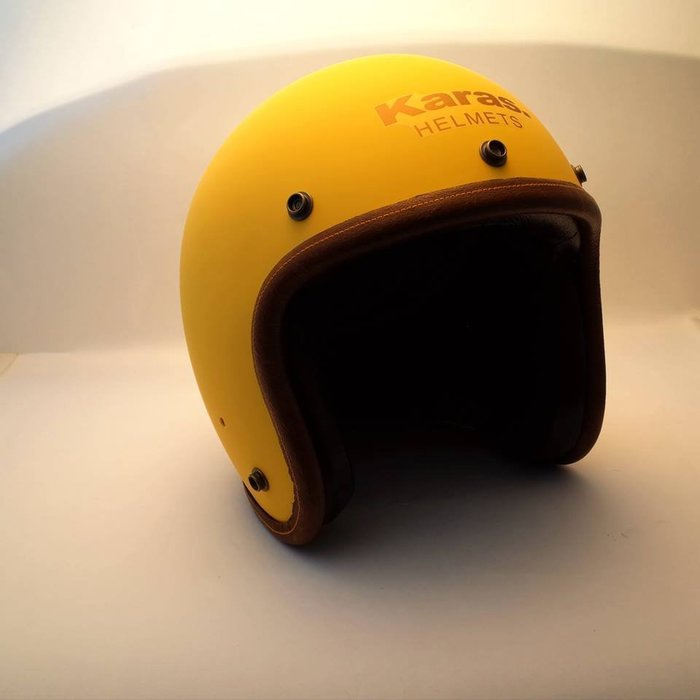 (I LOVE樂多)卡拉斯 KARAS K-1 啞光鵝黃 4/3復古質感安全帽(牛皮邊條+小羊皮.黑麂皮內裝)