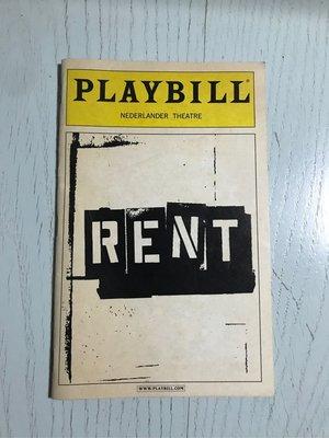 Playbill 百老匯 Rent 吉屋出租 Broadway 2007年9月