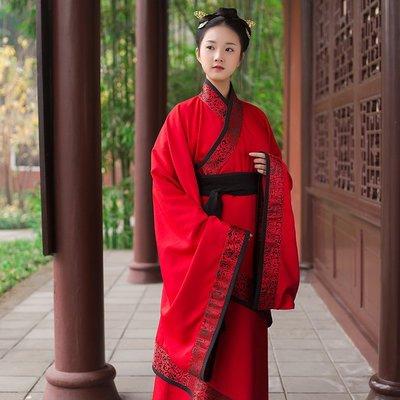 渡風 紅黑原創正規漢服女雙繞長曲裾傳統禮服春裝非古裝