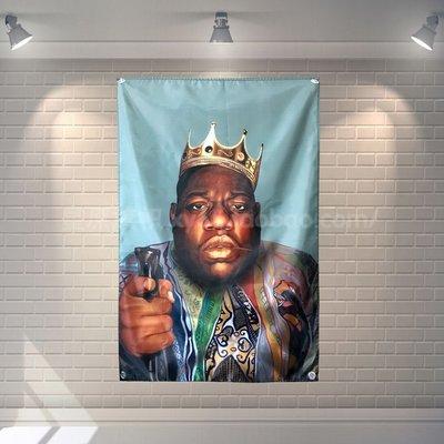 【AMAS】-東海岸嘻哈教父 The Notorious B.I.G 個性裝飾掛布掛旗酒吧臺球  #【標價為最小號售價】