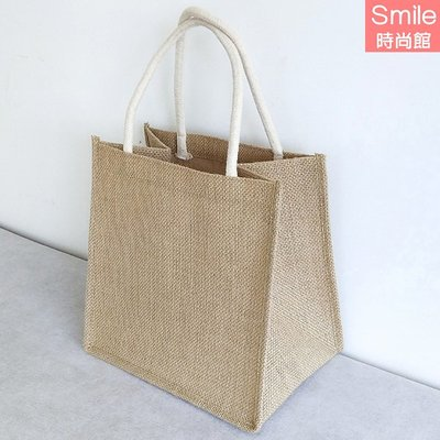 【P255】SMILE-時尚簡約.清新麻布亞麻手提袋子