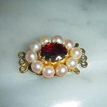 9K金紅色石榴石水晶項錬珍珠扣頸鏈扣橢圓形英國古董首飾