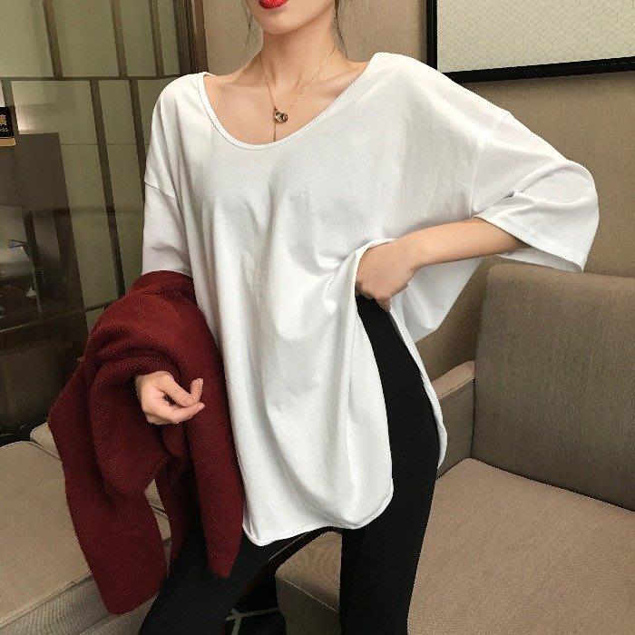 小香風 短袖T恤 時尚穿搭 韓版 法式V領兩邊開叉半袖寬松百搭T恤洋氣百搭上衣女
