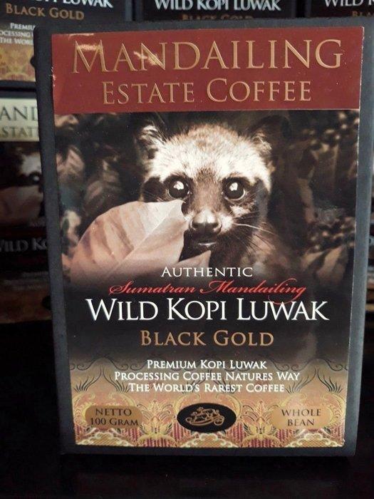 咖啡豆現貨~頂級黑金蘇門答臘純野生麝香貓咖啡Premium Wild Kopi Luwak Black Gold (Whole Bean)100g