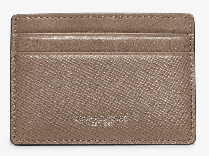 全新美國精品名牌 Michael Kors Men MK灰褐色低調經典款名片夾,附原廠禮盒,低價起標無底價!本商品免運!