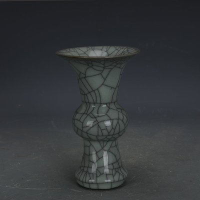 ㊣姥姥的寶藏㊣ 宋代官窯鐵胎青釉開片花觚瓶  手工 出土古瓷器古玩收藏擺件