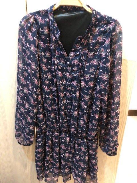 小花別針、百貨專櫃【AXES】短袖碎花藍色雪紡洋裝