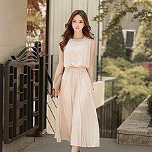 YOHO 洋裝 (18YN0607-7) 女神款氣質優雅綁帶百褶雪紡洋裝 連身裙 長洋裝 高腰洋裝 婚宴婚禮 伴娘禮服