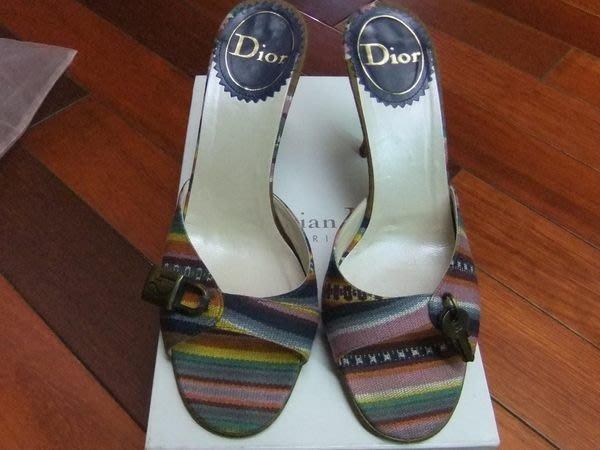 【100%真品】Christian Dior 鮮艷彩條鎖頭鑰匙造型特別款拖鞋/便鞋/高跟鞋 39號