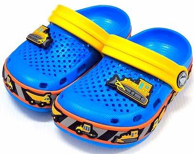 【菲瑪】COQUI 趣味工程車花園鞋 懶人鞋 布希鞋 軟Q無毒無味超輕止滑 藍6436