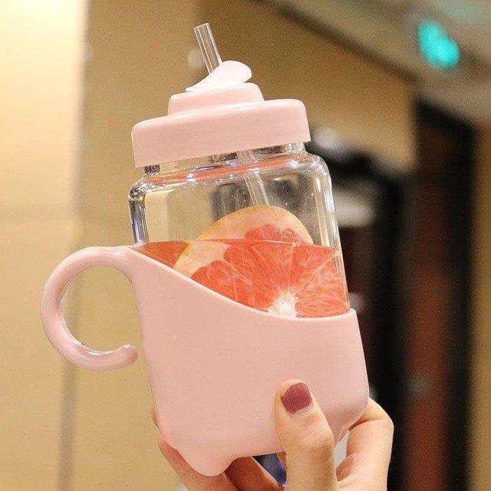雨晴嚴選 小茶壺帶吸管耐熱玻璃杯學生大人辦公室清新帶手柄喝水杯創意水瓶YQ565