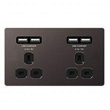 英國代購 - BG 13A x2 + 2.1 USB x4 纖薄無螺絲平板/镍黑/黑插 掣面/插蘇