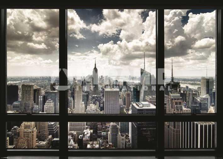 海報拼圖專賣店:海報-GPP51051(窗口外的紐約 )+PP30365( 奧黛莉赫本+細黑框)