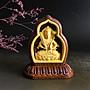 虛空藏菩薩 - 黃楊木 鑲大紅酸梭  雙面精雕  P2534