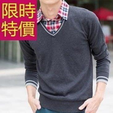 長袖毛衣修身成熟-氣質新款假兩件式男襯衫 3色59ac39[韓國進口][米蘭精品]