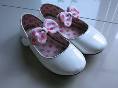 含運300元*出清二手童鞋 17號 白皮鞋 包鞋 娃娃鞋 公主鞋 可愛圓點 畢業典禮 花僮