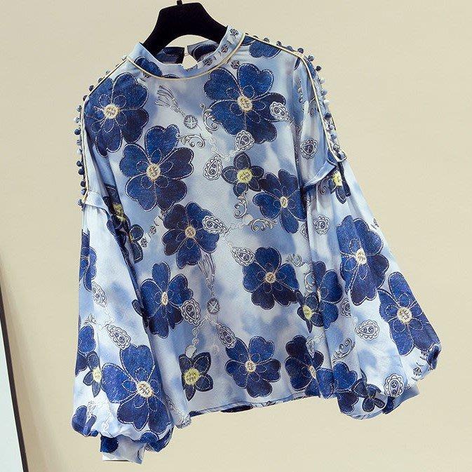 【An Ju Shop】韓國風 春秋 復古雪紡襯衫寬鬆時尚印花色立領燈籠袖上衣~OI285004