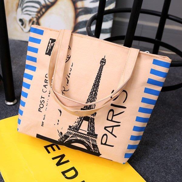 一級棒    百搭帆布袋 手提袋 帆布包 背包 肩包 側肩包 袋 巴黎鐵塔