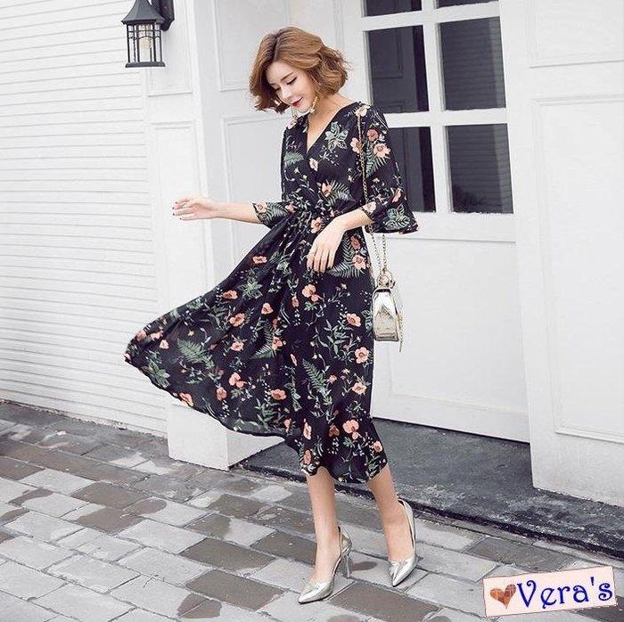 【K1804022】(預購)V領荷葉袖中長修身名媛風大裙擺碎花連衣裙