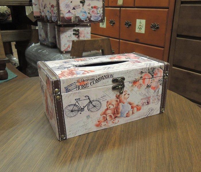 可愛小熊面紙盒 鄉村風面紙盒 面紙套 粉色面紙盒 面紙收納盒 抽取式衛生紙盒 人造皮革面紙盒 硬殼面紙盒 衛生紙套