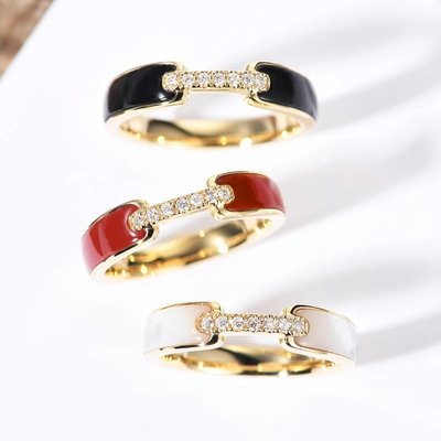輕珠寶訂製 18K金白貝母/紅玉髓/黑瑪瑙寬版鑽石戒指