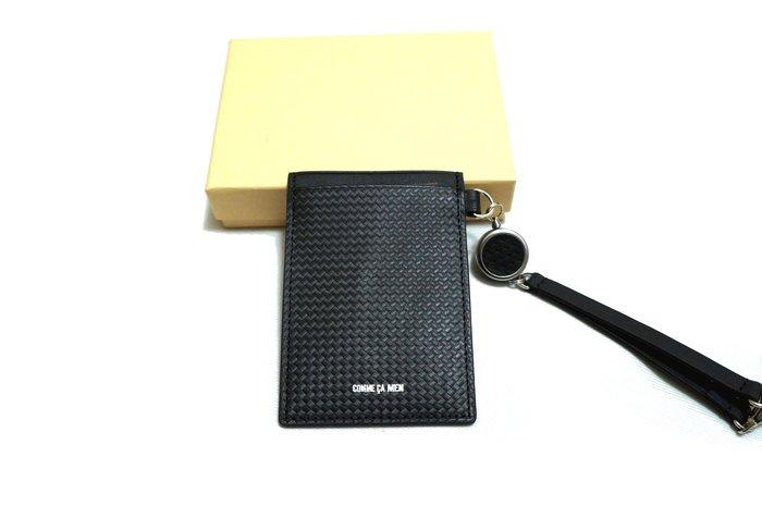 全新日本專櫃正品COMME CA MEN 黑色編織設計拼接防刮全牛皮可伸縮式 悠遊卡/證件/卡片通行吊牌