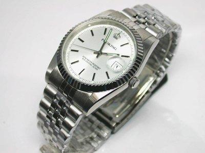 不鏽鋼日期顯示銀白色時尚錶