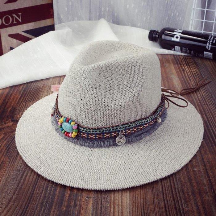 草帽民族風爵士帽男女士禮帽復古逛街百搭寬檐帽子錐形平檐帽