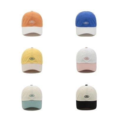 韓國進口薄料夏天棒球帽短帽檐可愛清新fete字母刺繡拼色鴨舌帽女