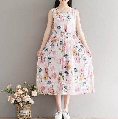 棉麻洋裝 連身裙 無袖寬松顯瘦印花中長款裙子 文藝韓版碎花洋裝—莎芭