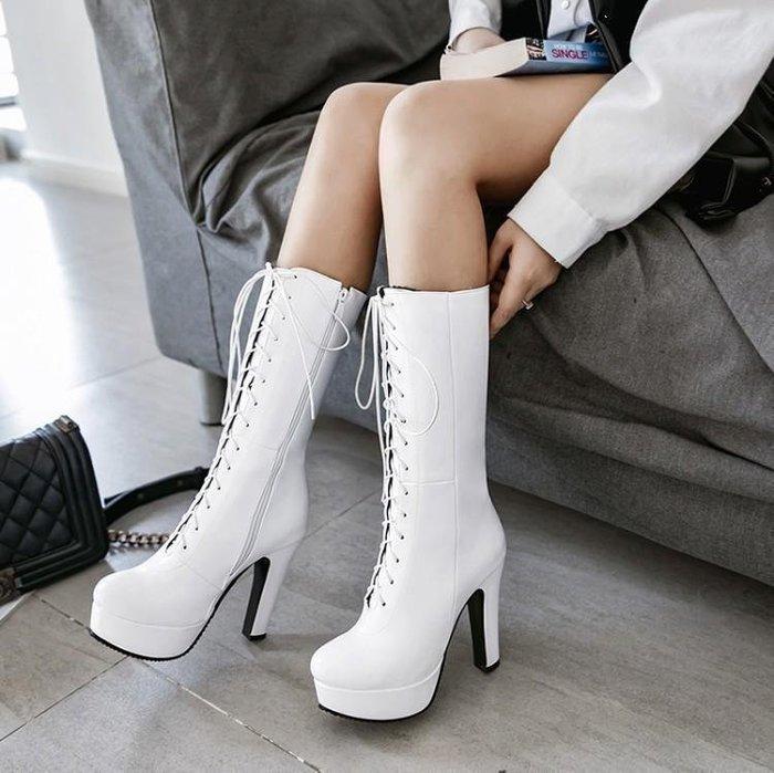 【星居客】精美女鞋大小碼女鞋潮   歐美輕熟秋冬新款高筒騎士靴超高跟大碼粗跟中靴33-48大小碼女靴S932