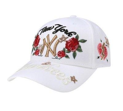 韓國限定 MLB x TWICE NEW YORK YANKEES NY 紐約洋基隊 玫瑰 刺繡 棒球帽 老帽 黑白2色