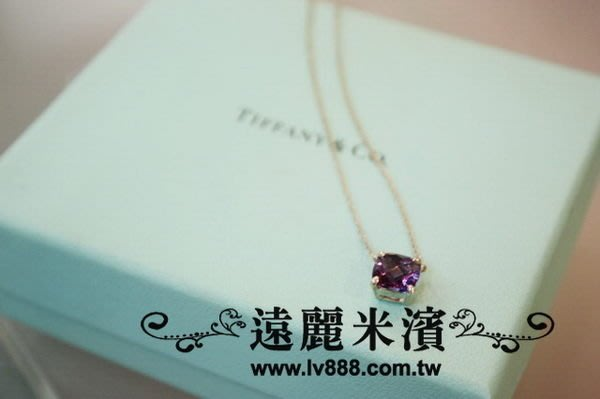 【遠麗】台北大安店~A6413 tiffany & co 紫色 寶石 純銀 925 細版 項鍊 真品 /正品