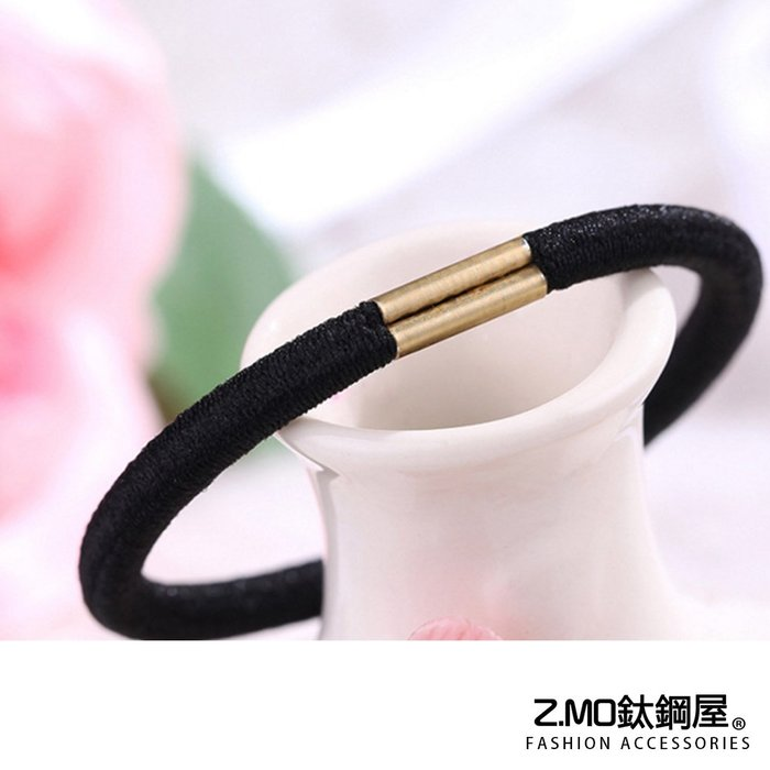 合金+彈力繩 髮飾 髮圈 黑色髮繩 綁頭髮 馬尾女孩必備 單條價【HTA026】Z.MO鈦鋼屋