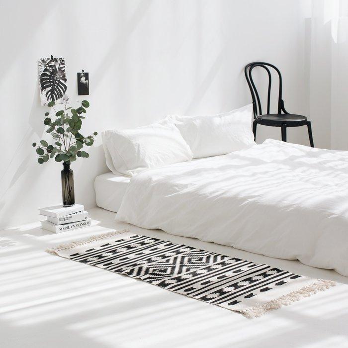 波西米亞 黑白民族風地墊60*130 編織地墊 雙側流蘇  沙發墊 拍攝道具 臥室 居家 工作室 裝飾 床邊踏墊