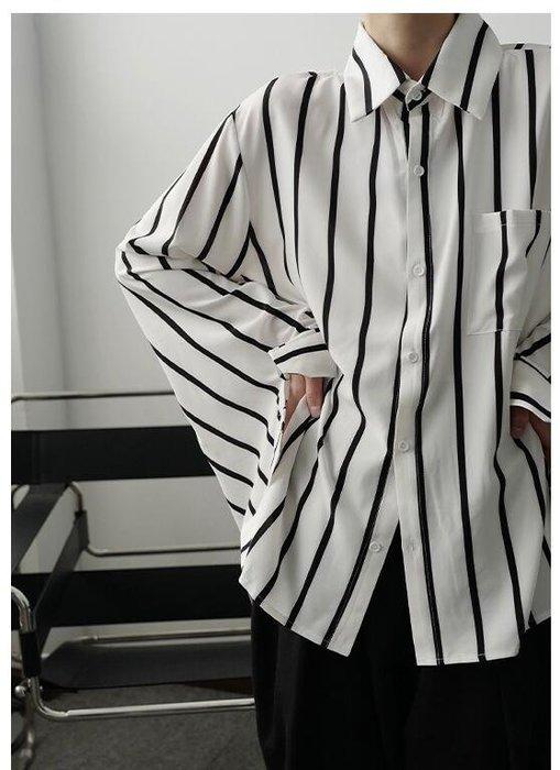 FINDSENSE X  男士 經典條紋氣質輕熟極簡風袖口系結心機垂感長袖襯衫