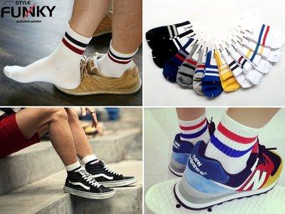 ☆Funky 小版男裝☆ 現貨販售 韓國當紅 17 S/S新品 街頭潮流風格 雙條紋條槓棉質中筒襪 12色 滑板 嘻哈