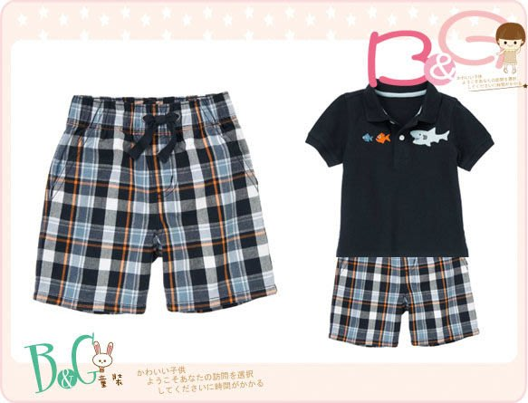 【B& G童裝】正品美國進口GYMBOREE Pull-On Plaid Short 橘藍色格子短褲6-12mos